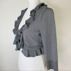 White House Black Market Ruffle Cropped Cardigan